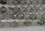CAG4498 15.5 inches 8mm faceted round fire crackle agate beads