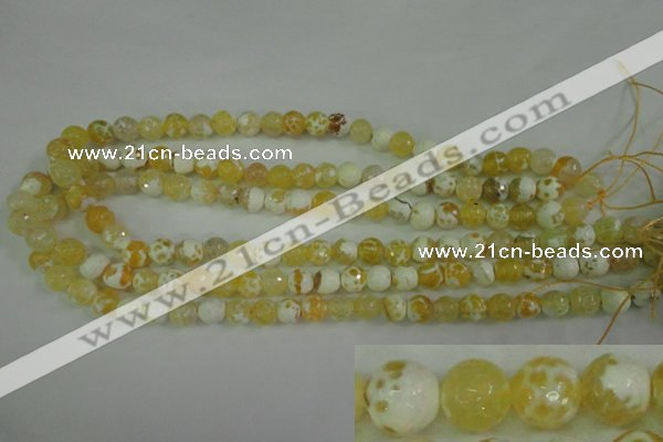 CAG4502 15.5 inches 8mm faceted round fire crackle agate beads