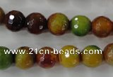 CAG4520 15.5 inches 10mm faceted round fire crackle agate beads