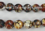 CAG4525 15.5 inches 10mm faceted round fire crackle agate beads