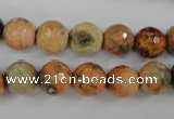 CAG4529 15.5 inches 10mm faceted round fire crackle agate beads