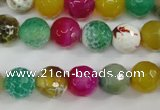 CAG4531 15.5 inches 10mm faceted round fire crackle agate beads