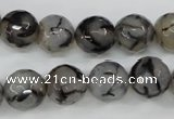 CAG4540 15.5 inches 12mm faceted round fire crackle agate beads