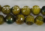 CAG4541 15.5 inches 12mm faceted round fire crackle agate beads