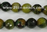 CAG4542 15.5 inches 12mm faceted round fire crackle agate beads