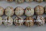 CAG4546 15.5 inches 12mm faceted round fire crackle agate beads