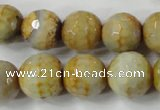 CAG4558 15.5 inches 14mm faceted round fire crackle agate beads