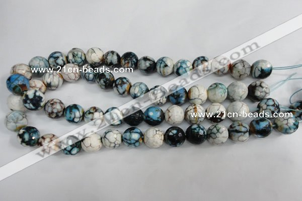 CAG4561 15.5 inches 14mm faceted round fire crackle agate beads