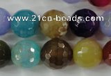 CAG4564 15.5 inches 14mm faceted round fire crackle agate beads