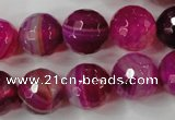 CAG4568 15.5 inches 14mm faceted round agate beads wholesale