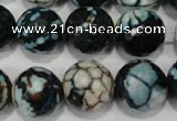 CAG4578 15.5 inches 16mm faceted round fire crackle agate beads