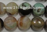 CAG4581 15.5 inches 16mm faceted round fire crackle agate beads