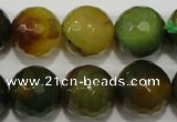 CAG4583 15.5 inches 16mm faceted round fire crackle agate beads