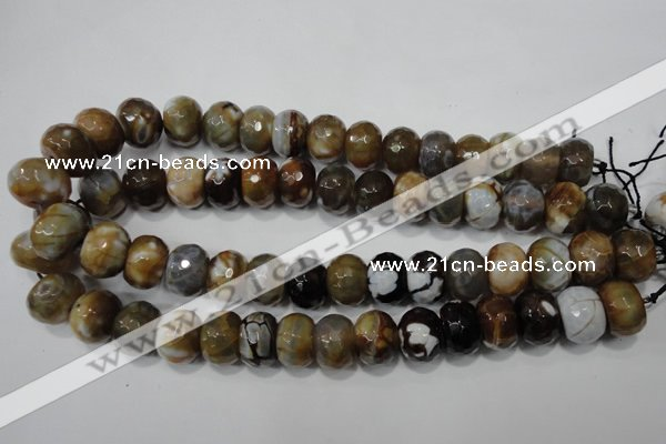 CAG4598 15.5 inches 12*16mm faceted rondelle fire crackle agate beads