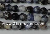 CAG4602 15.5 inches 4mm faceted round fire crackle agate beads