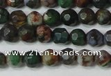 CAG4603 15.5 inches 4mm faceted round fire crackle agate beads