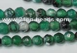 CAG4606 15.5 inches 4mm faceted round fire crackle agate beads