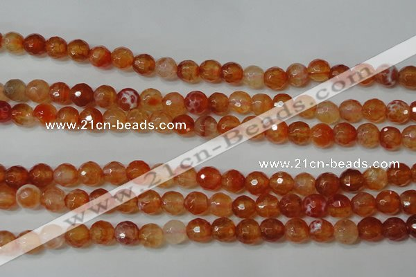 CAG4615 15.5 inches 6mm faceted round fire crackle agate beads
