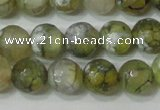 CAG4627 15.5 inches 6mm faceted round fire crackle agate beads
