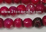 CAG4638 15.5 inches 6mm faceted round fire crackle agate beads