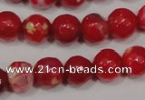CAG4640 15.5 inches 6mm faceted round fire crackle agate beads