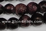 CAG4648 15.5 inches 8mm faceted round fire crackle agate beads