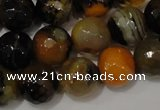 CAG4654 15.5 inches 8mm faceted round fire crackle agate beads