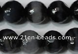 CAG4661 15.5 inches 10mm faceted round fire crackle agate beads