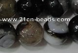 CAG4662 15.5 inches 10mm faceted round fire crackle agate beads