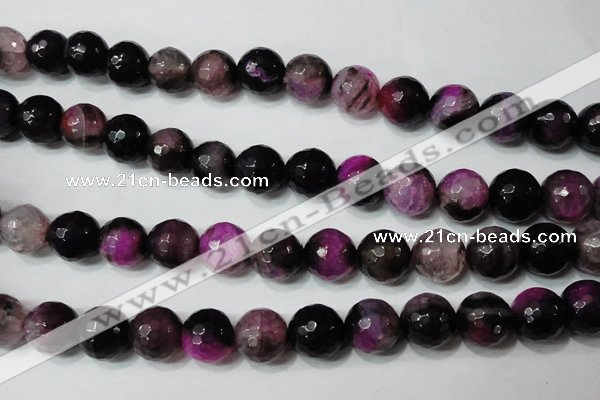 CAG4666 15.5 inches 10mm faceted round fire crackle agate beads