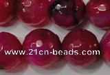 CAG4670 15.5 inches 10mm faceted round fire crackle agate beads