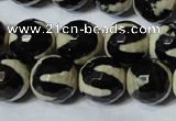CAG4675 15.5 inches 14mm faceted round tibetan agate beads wholesale
