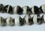 CAG4677 15.5 inches 10mm faceted round tibetan agate beads wholesale