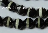 CAG4678 15.5 inches 12mm faceted round tibetan agate beads wholesale
