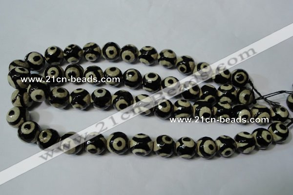 CAG4682 15.5 inches 14mm faceted round tibetan agate beads wholesale