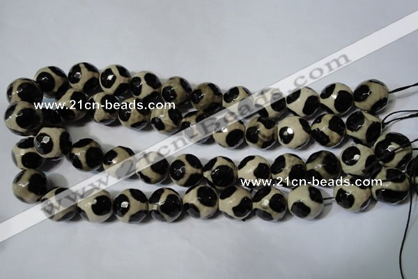 CAG4684 15.5 inches 16mm faceted round tibetan agate beads wholesale