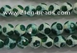 CAG4690 15 inches 8mm faceted round tibetan agate beads wholesale
