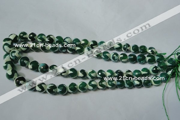 CAG4701 15.5 inches 10mm faceted round tibetan agate beads wholesale