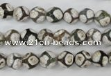 CAG4705 15 inches 8mm faceted round tibetan agate beads wholesale