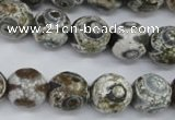 CAG4720 15 inches 14mm faceted round tibetan agate beads wholesale