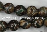 CAG4738 15 inches 14mm round tibetan agate beads wholesale