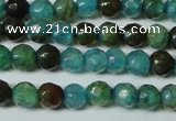 CAG4785 15.5 inches 4mm faceted round fire crackle agate beads