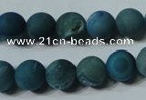 CAG4820 15.5 inches 12mm round matte druzy agate beads wholesale