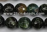 CAG4856 15 inches 16mm faceted round dragon veins agate beads