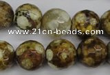 CAG4866 15 inches 16mm faceted round dragon veins agate beads