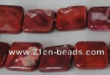 CAG4872 15 inches 14*14mm faceted square fire crackle agate beads