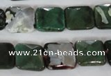 CAG4876 15 inches 14*14mm faceted square fire crackle agate beads