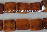 CAG4877 15 inches 14*14mm faceted square fire crackle agate beads