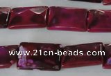 CAG4880 15 inches 13*18mm faceted rectangle fire crackle agate beads