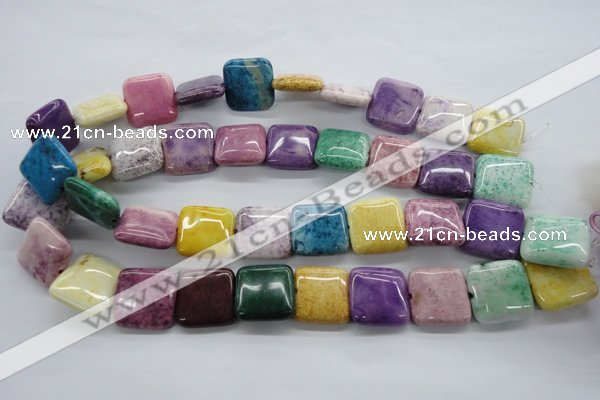 CAG4912 15.5 inches 20*20mm square dyed white agate beads